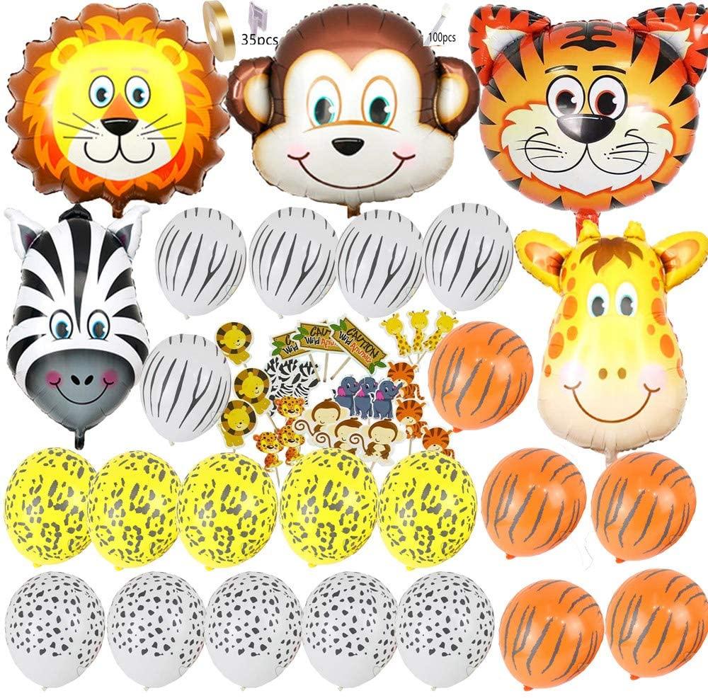 Safari Jungle Zoo Huge Animal Head Balloon Jumbo Balloons Zebra, Tiger, Lions, Giraffe & Monkey with 20pcs 11