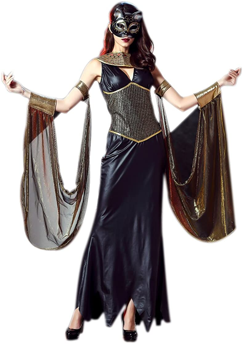 Genic Halloween Black Cleopatra Cosplay Dress Nightclub DS Performance Clothing Female Costume