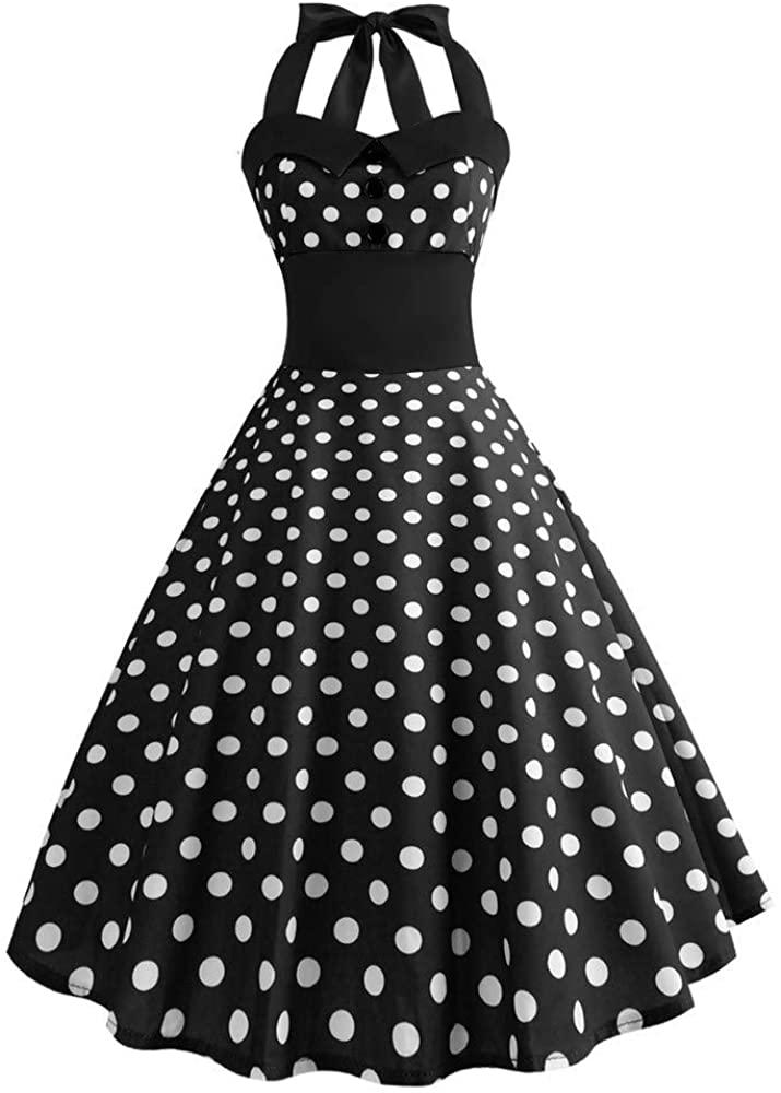 TOTOD Vintage 1950s Rockabilly Polka Dots Dress Retro Bodycon Halter Backless Evening Cocktail Dresses