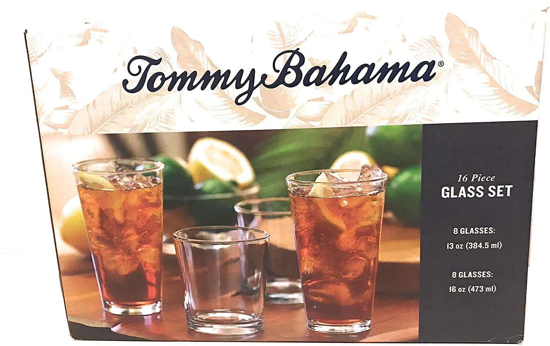 Tommy Bahama Round 16pc piece Glass Set (8-13oz & 8-16oz)