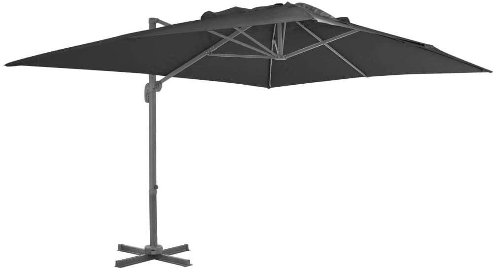 DIII Umbrella Cover, 400x300 cm Anthracite Waterproof and UV-Proof Parasol with Aluminum Pole, Suitable for Outdoor Lawn Swimming Pool 8.6