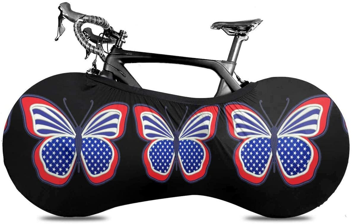 KLQ Butterfly American Flag 4th of July Independence Day Bike Dust Cover Bicycle Wheel Protective Case