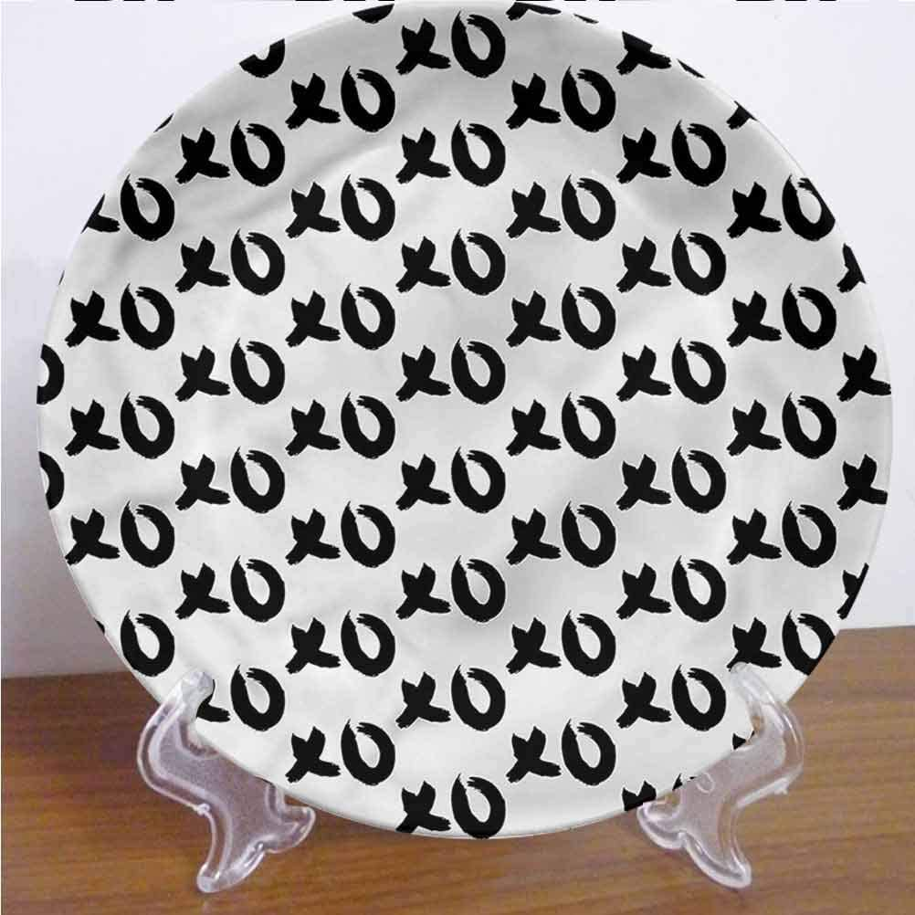Channing Southey 10 Inch Xo Ceramic Decorative Plate Paintbrush Words Artwork Tableware Plate Decor Accessory for Pasta, Salad,Party Kitchen Home Decor