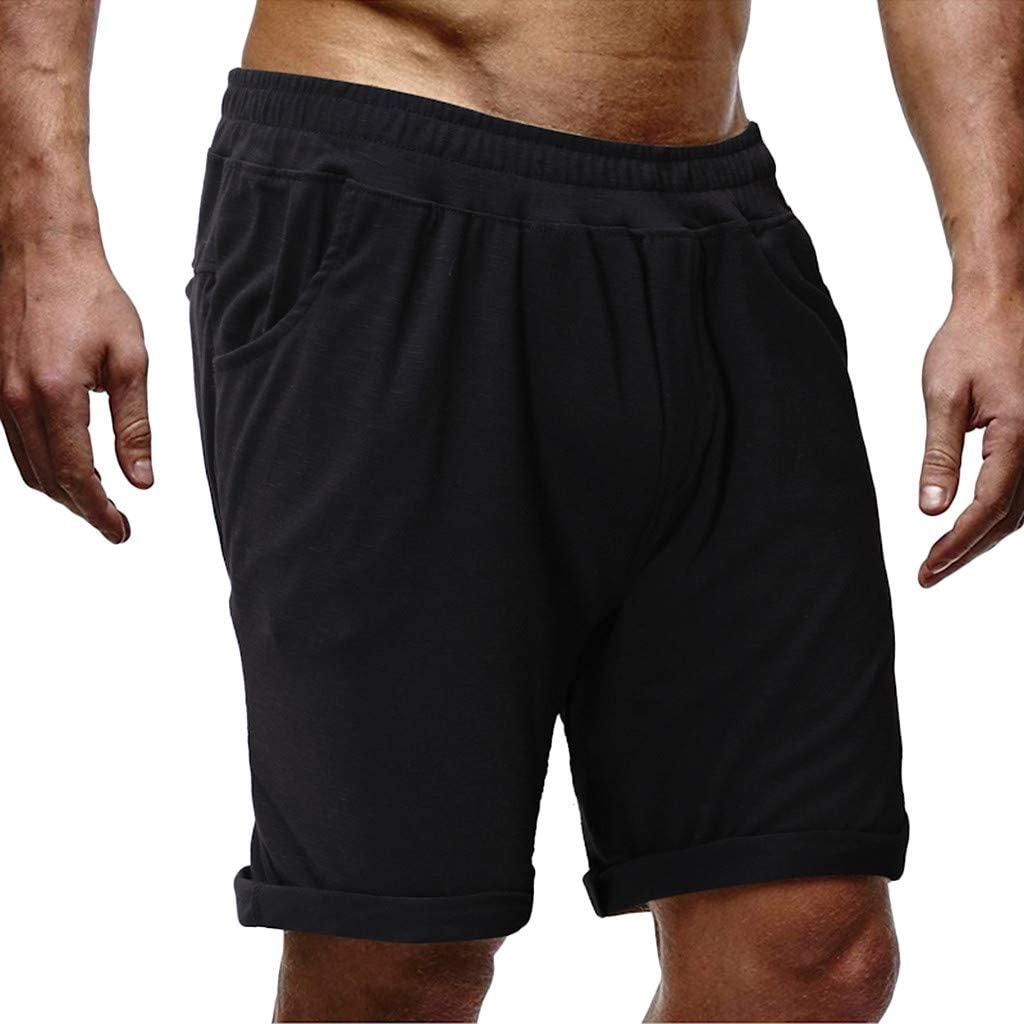 Men's Shorts Elastic Waist Loose Pure Color Jogging Running Sports Breathable Fitness Shorts Pants
