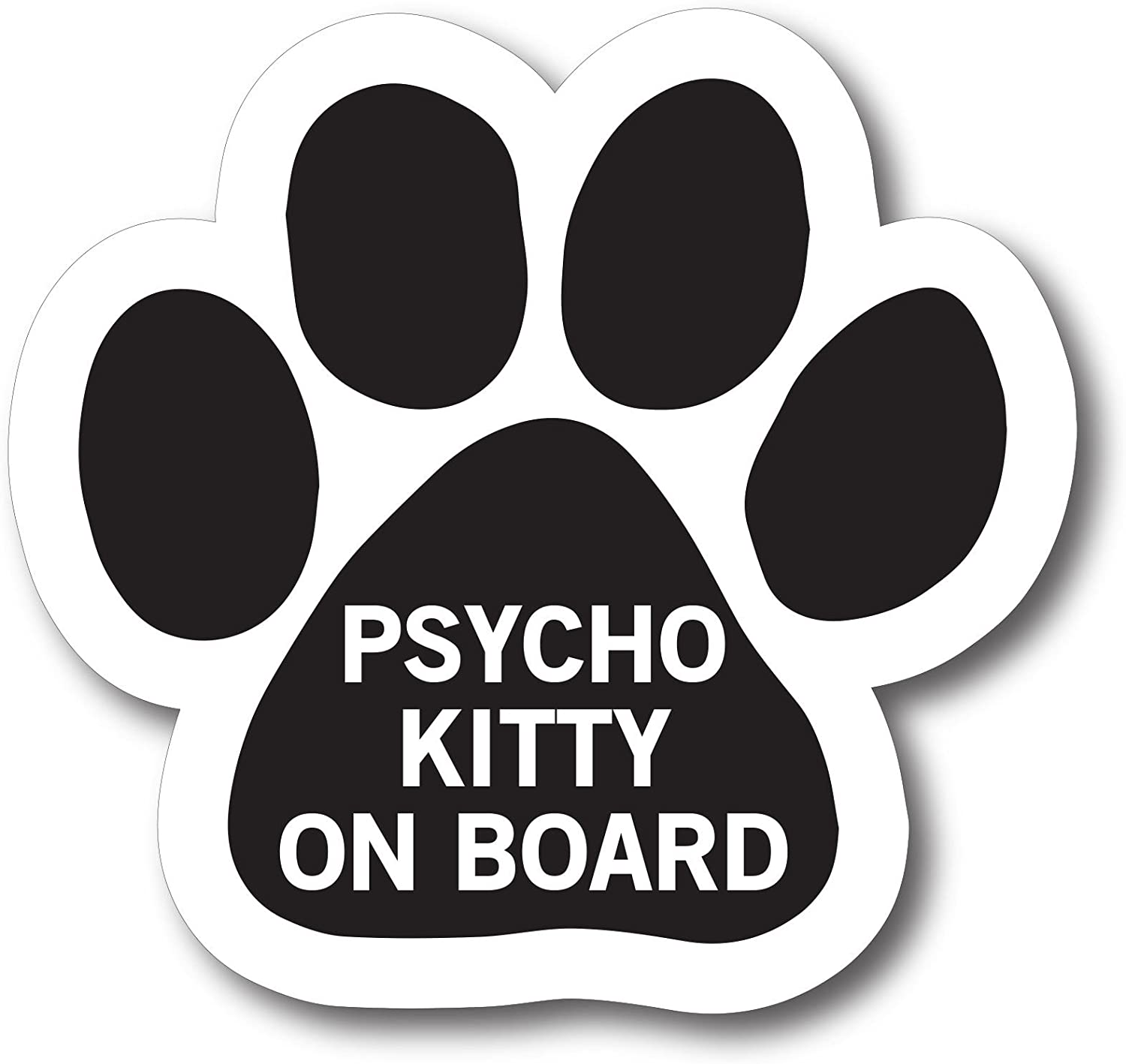 Magnet Me Up Psycho Kitty on Board Pawprint Car Magnet Paw Print Auto Truck Decal Magnet