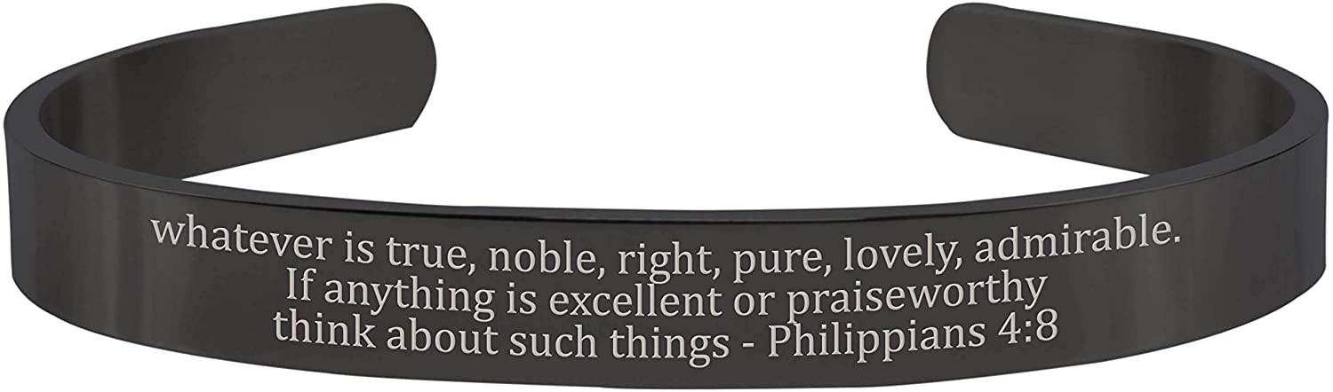Pink Box 8MM Solid Stainless Steel Scripture Cuffs - Philippians 4:8 - Black -