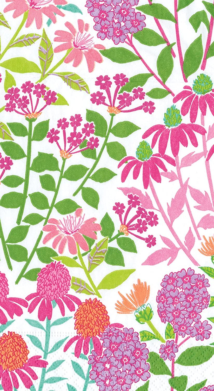 Caspari 13220G Wildflowers Paper Guest Towel Napkins, Pack of 15, Pink