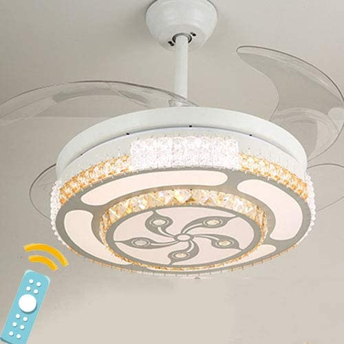 Shhjjyp Crystal Retractable Ceiling Fan with Light Indoor Invisible Ceiling Fan Chandelier with Light and Remote 3 Light Change LED 42 Inch,B