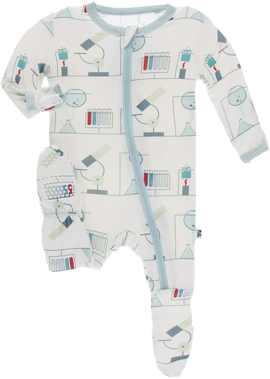 KicKee Pants Print Footie with Zipper (2T Natural Chemistry Lab)