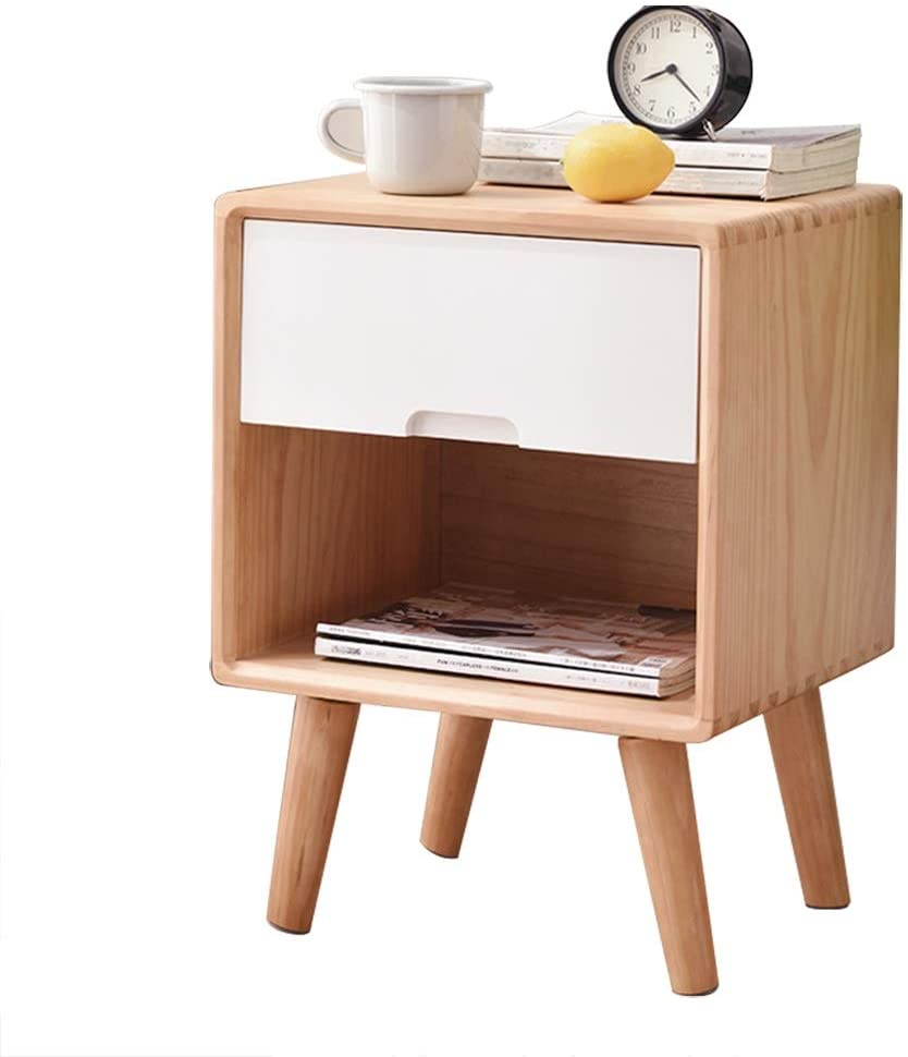 HYBB Nightstand Wood Nightstand End Table Coffee Table Phone Tables Bookcases Sofa Table|2-Tier Storage Cabinet|Solid Wood Leg|Drawer and Open Storage|Arc Handle|Easy Assembly A++++