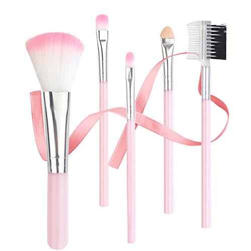 Professional 5pcs Eye Brushes, Beauty Face Eye Makeup Brushes Kit, Natural Soft Shading Blending Blush, Cosmetic Tool for Lip Liner Eyebrow Eyelash Concealer Contour Cream Powder(Pink)
