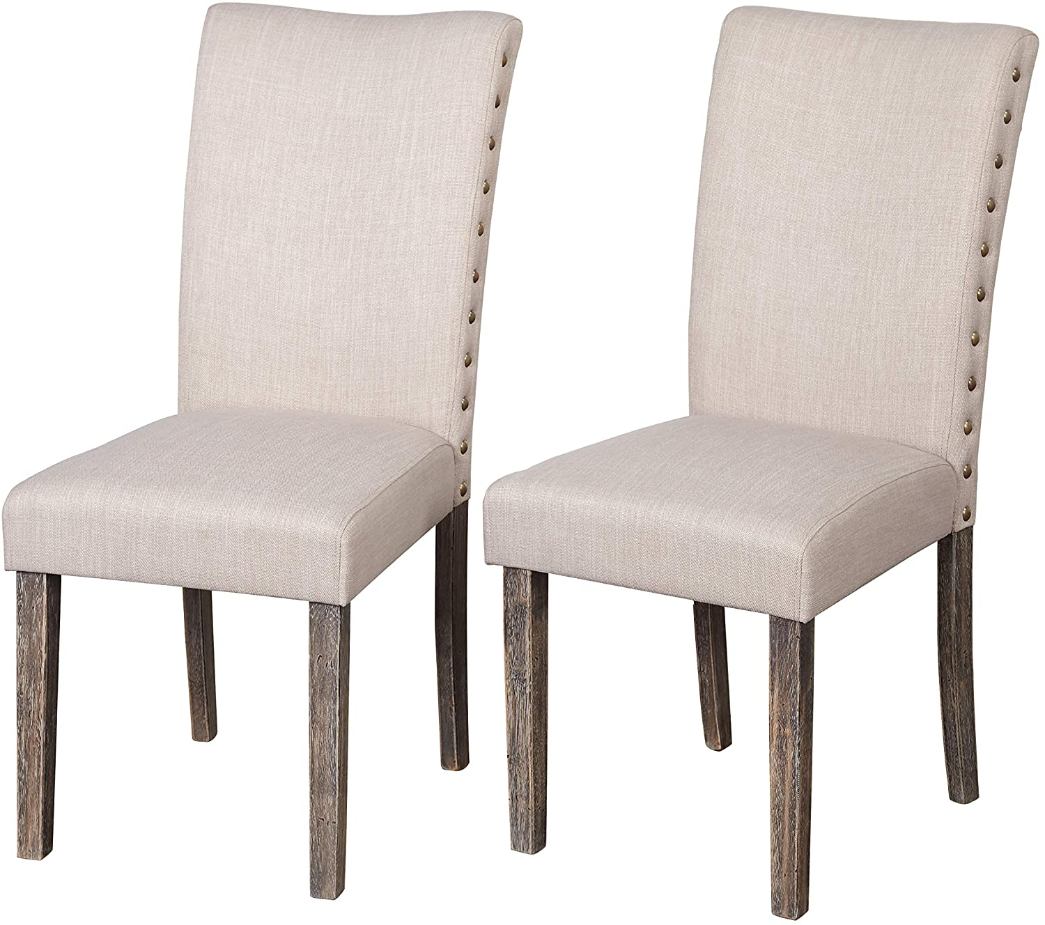 The Mezzanine Shoppe Burntwood Modern Fabric Upholstered Parson Dining Room Chair, 2 Pairs, Grey