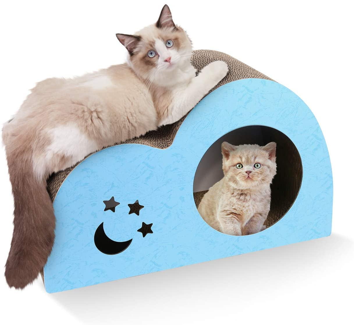 isYoung Cat Scratcher Lounge, Corrugated Cat Scratching Pad, Cat Scratcher Cardboard, for Large Cats and Little Kitten