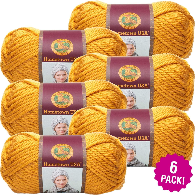 Lion Brand Madison Mustard Hometown USA Yarn 6/Pk 6 Pack