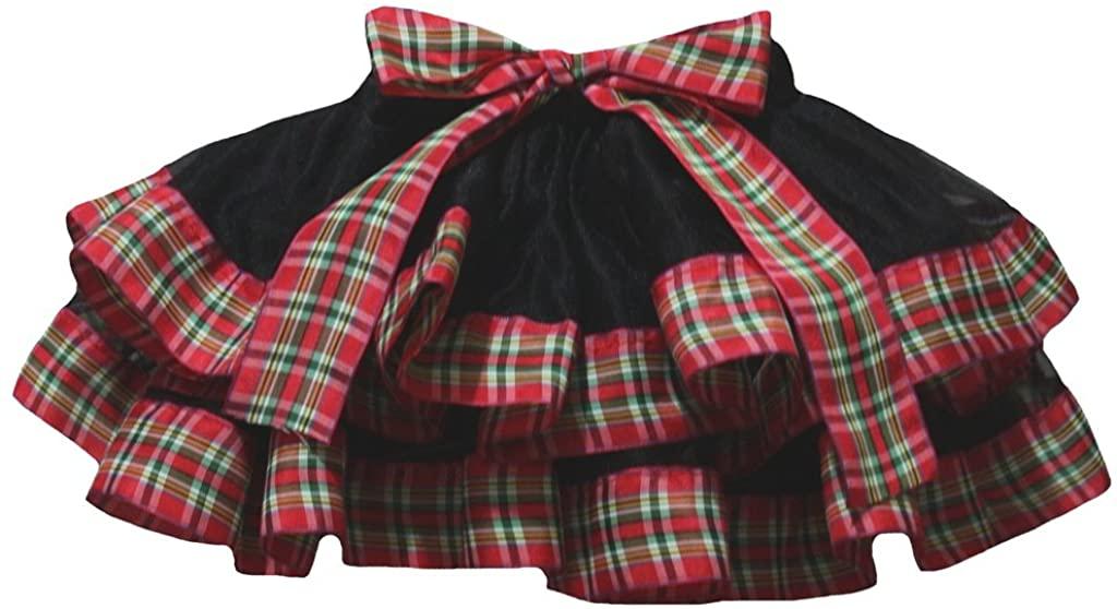Petitebella Black Red Plaid Ribbon Petal Skirt Girl Clothing 1-8y