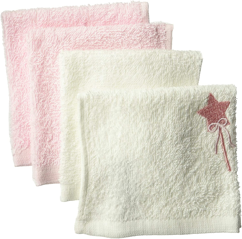Rene Rofe Baby Baby Newborn Unisex 4 Pack Washcloths, White/Pink/Star, One Size