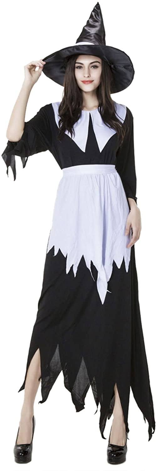 PINSE Women Sexy Solid Long Sleeve V Neck Faux Wrap Salem Witch Costume