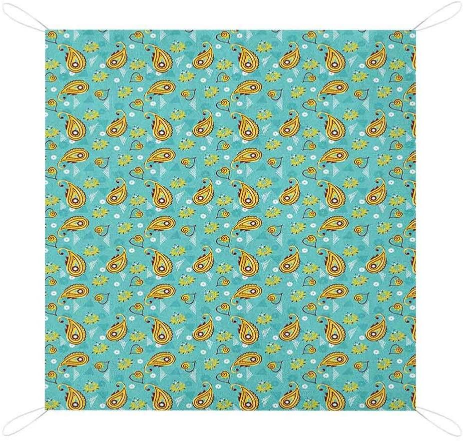 Nomorer Paisley Beach Blanket Waterproof Sandproof, Middle Pattern Persian Teardrop Shape with Floral Details Foldable Picnic Blanket, 67