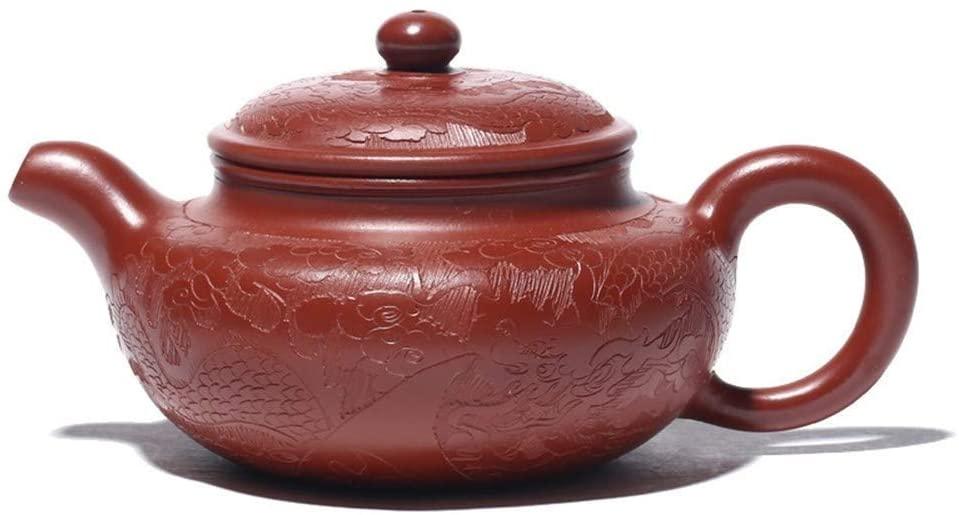 ZYL-YL Genuine Yixing teapot Famous Handmade ore Dahongpao Antique Hand Carved Dragon teapot Tea Pot fine