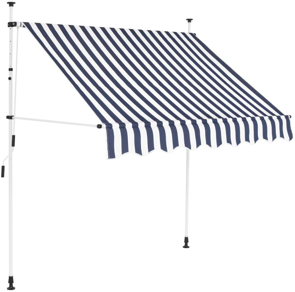 Festnight Outdoor Patio Manual Retractable Awning Sunshade Blue and White Stripes 78.7