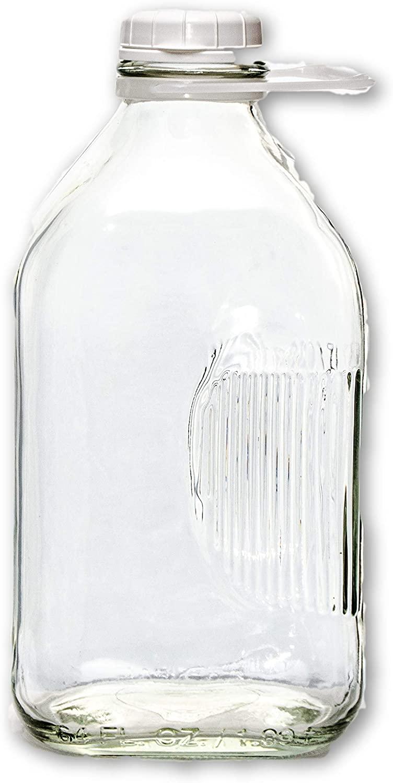 2 Qt Heavy Glass Milk Bottle with Handle & Cap, 64 Oz, 1/2 Gal.