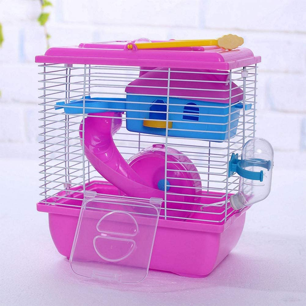 DishyKooker Pet Cage Hamster Cottage with Transparent Skylight Double Layer House Villa New Cottage for Hamster Golden Hamster Pet Supplies red L