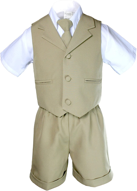 Unotux Infant Baby Boys Formal Wedding Khaki Necktie Vest Shorts Suits Sets S-XL