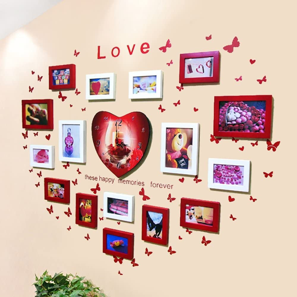 16 multi-frame photo wall heart-shaped solid wood photo wall photo frame wall combination belt watch studio living room bedroom wedding yarn wall (Color : Red and white)