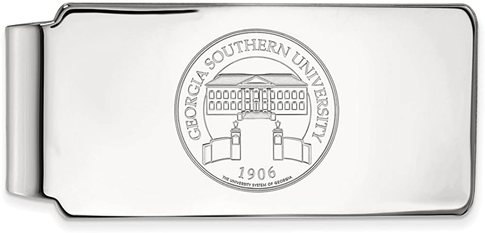 Solid 925 Sterling Silver Official Georgia Southern University Crest Slim Business Credit Card Holder Money Clip - 53mm x 24mm