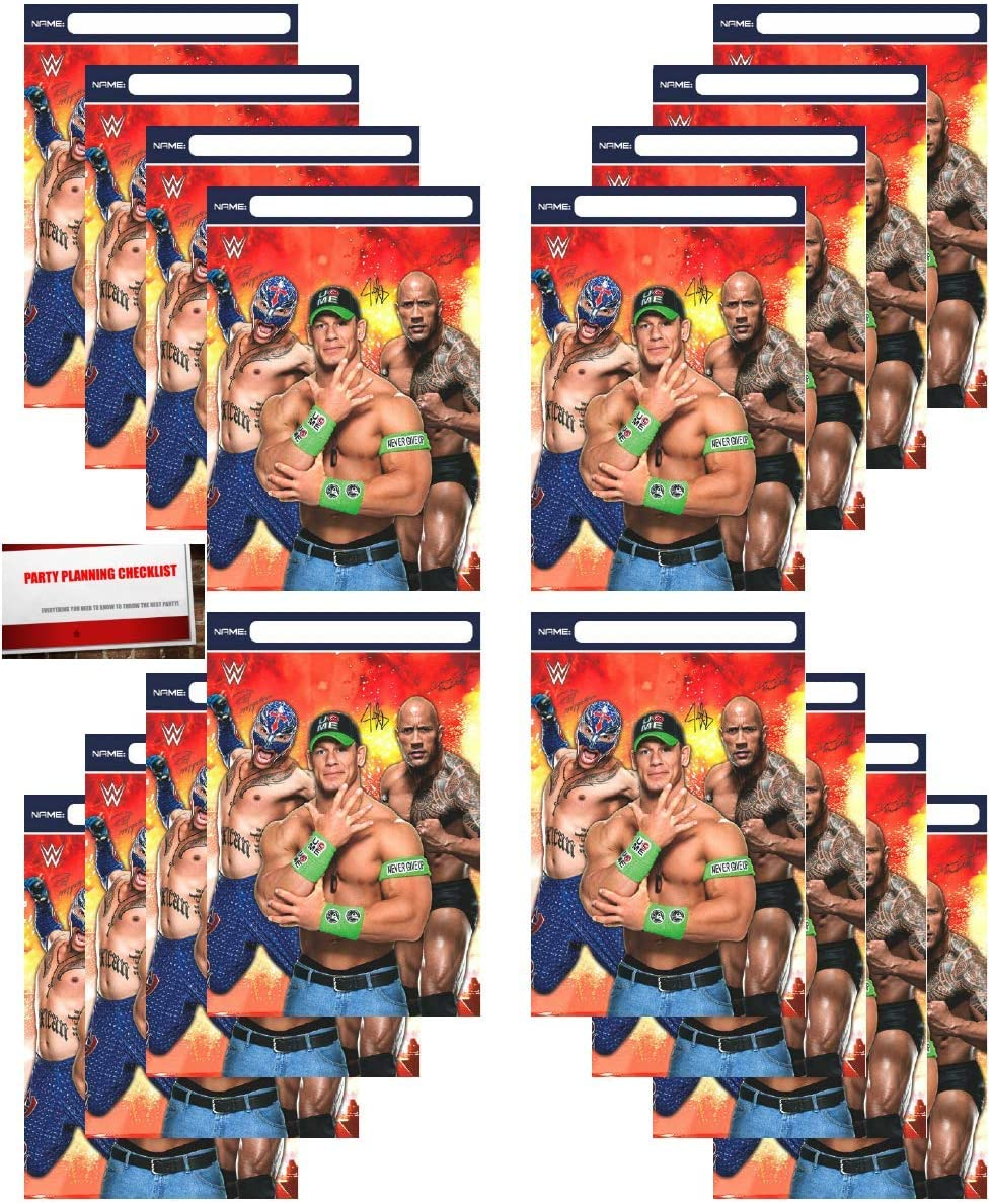 WWE Party 16 Pack Plastic Loot Treat Candy Favor Bags (Plus Party Planning Checklist by Mikes Super Store)