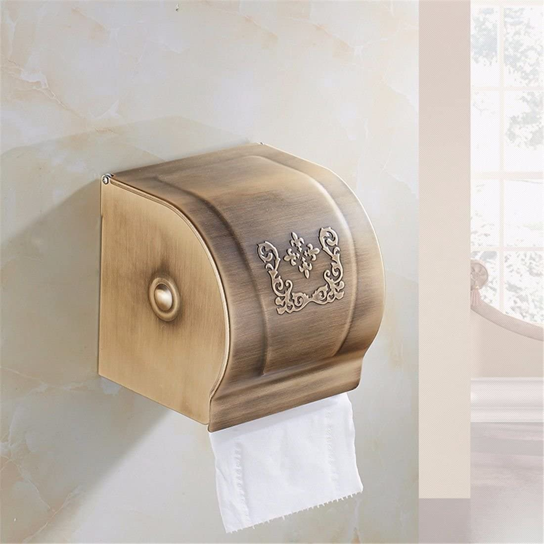 AiRobin-Continental Antique Space Aluminum Wall Mounted Toilet Paper Storage Container Bathroom Accessory
