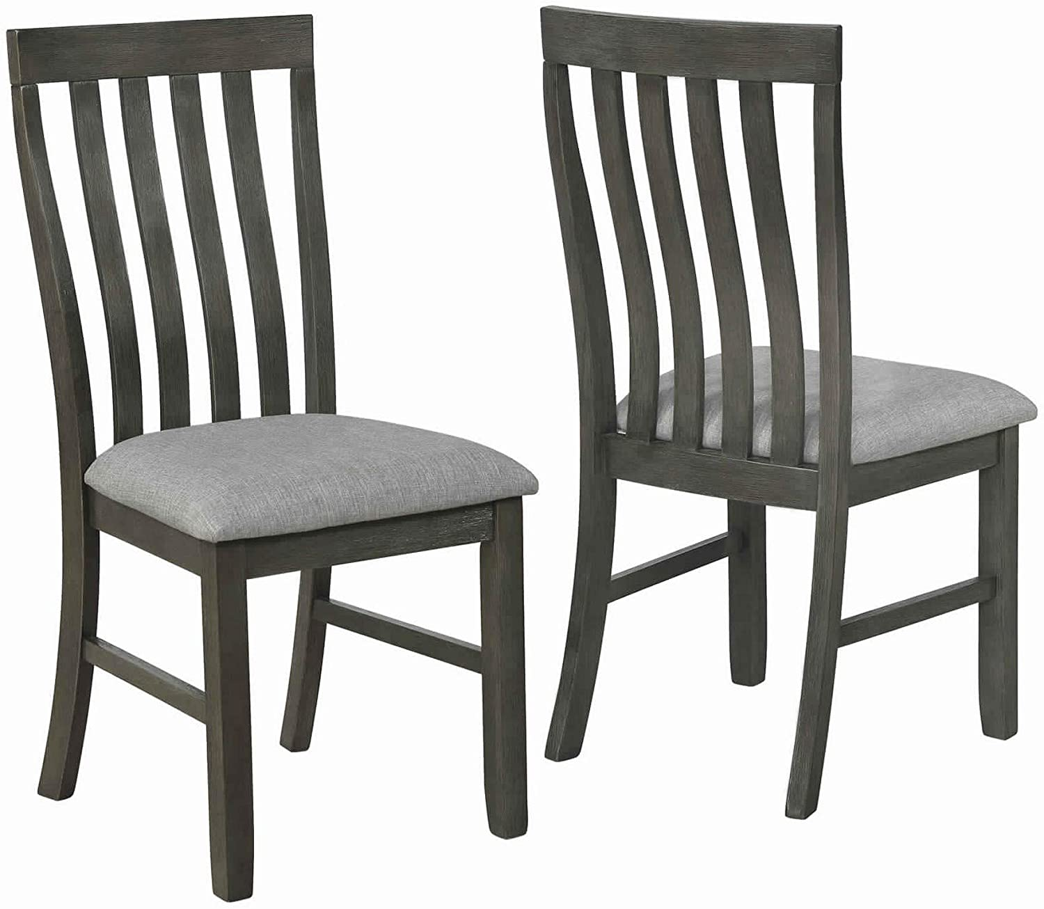 Benjara Wood and Fabric Dining Chair with Slatted Backrest, Brown and Gray
