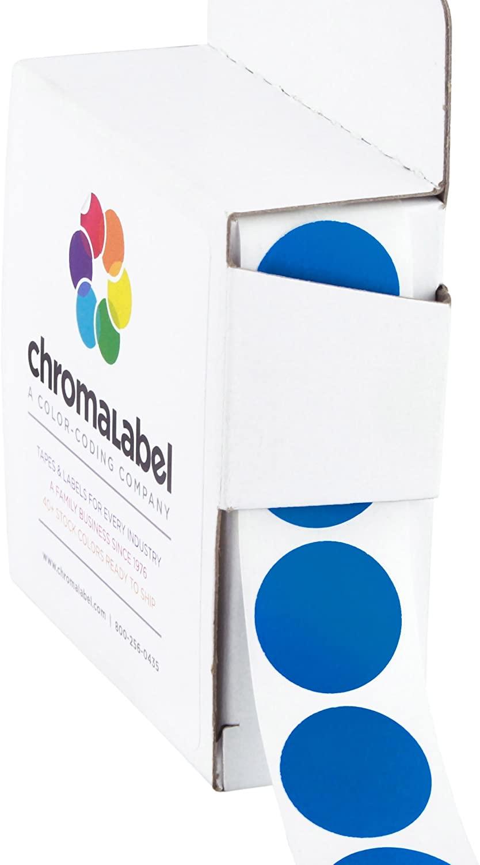 ChromaLabel 3/4 inch Color-Code Dot Labels | 1,000/Dispenser Box, Dark Blue