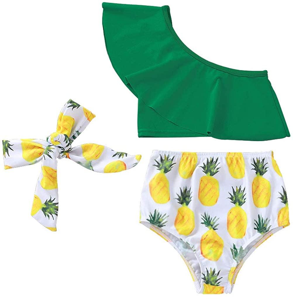 JEELLIGULAR Toddler Baby Girl Swimsuit Fashion One-Shoulder Ruffle Pineapple Bikini Set 3Pcs Swimsuit Beachwear Outfits