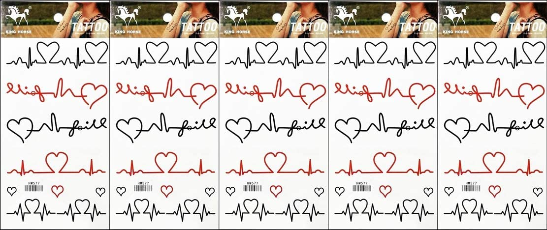 PP TATTOO 5 Sheets Stripes Heart Pulse Signals Sticker Tattoos Pattern Body Art for Men & Women Waterproof Large Arm Temporary Tattoo Fake