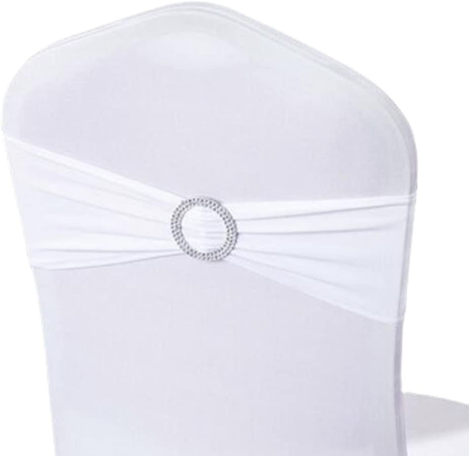 George Jimmy 10PCS Chair Back Wedding Bow Sashes Chair Cover Bands with Buckle-White