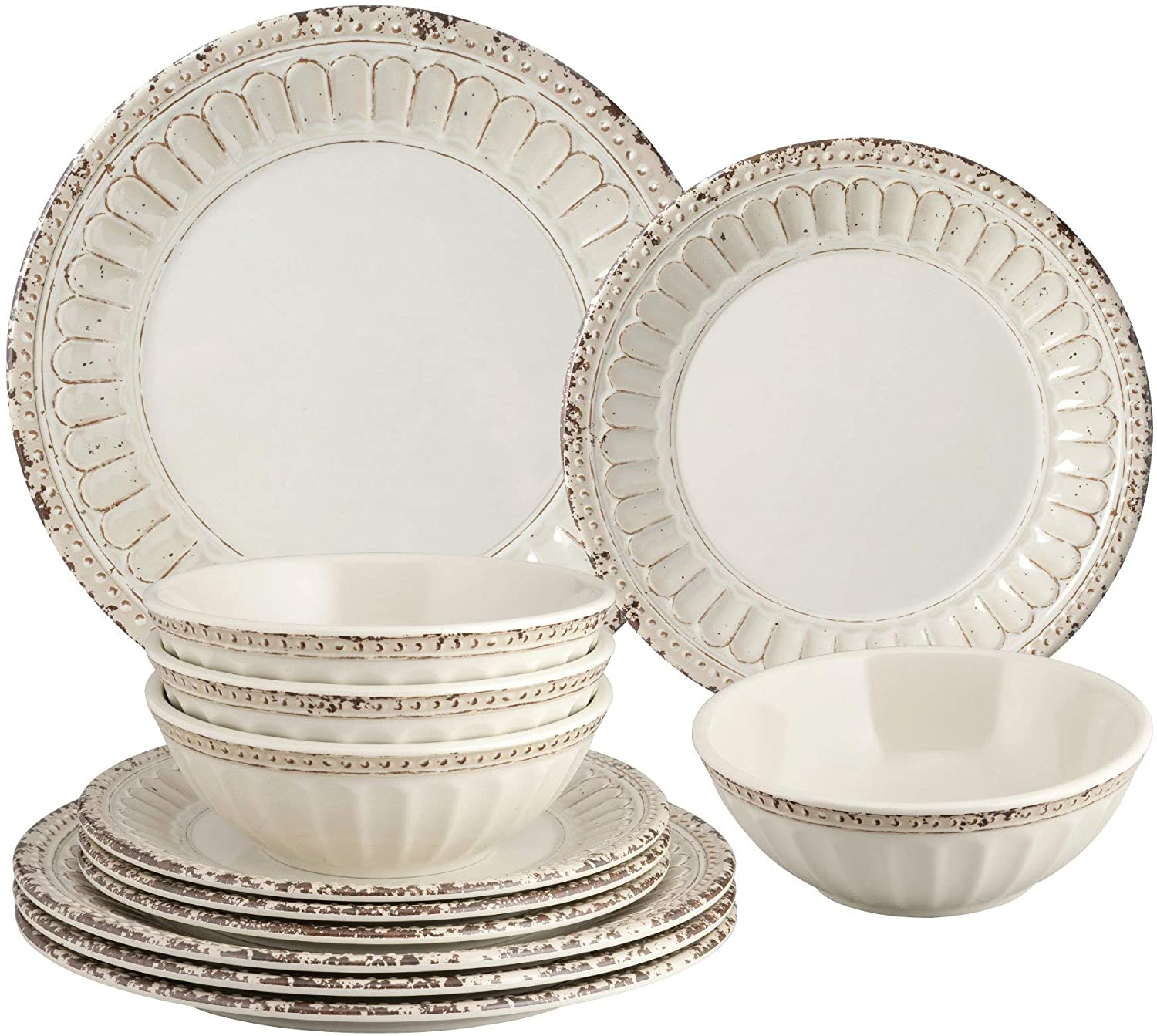 Gourmet Art 12-Piece Beaded Chateau Heavyweight and Durable Melamine Dinnerware Set, Sand, Service for 4. Includes Dinner Plates, Salad Plates, Bowls. for Indoors Outdoors Use and Everyday Use.