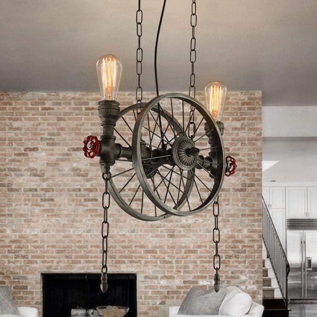 BOSSLV Loft Iron Wheel Hanging Lighting Industry Lamp Chandelier Retro Lamp Socket Bar Restaurant Parlor Adjustable Height Ceiling Lighting 2E27 L46CmH53Cm Max.60W