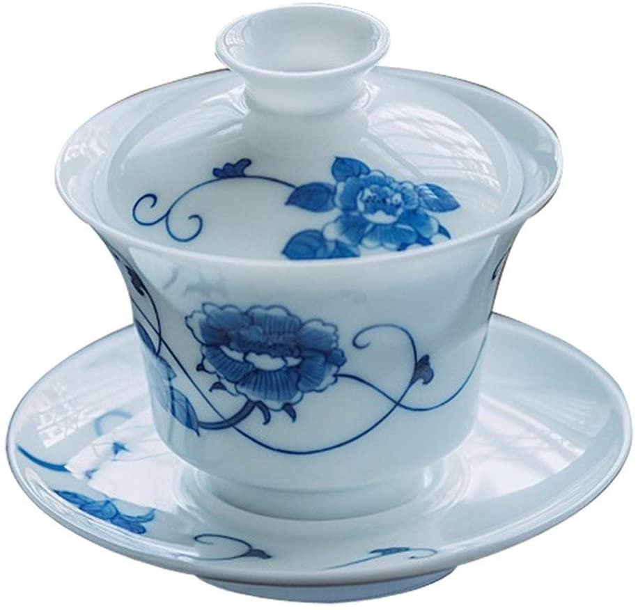 Bin Zhang Kung Fu Tea Set Hand-painted blue and white single-cup cup bowl with God (Color : Tea set)