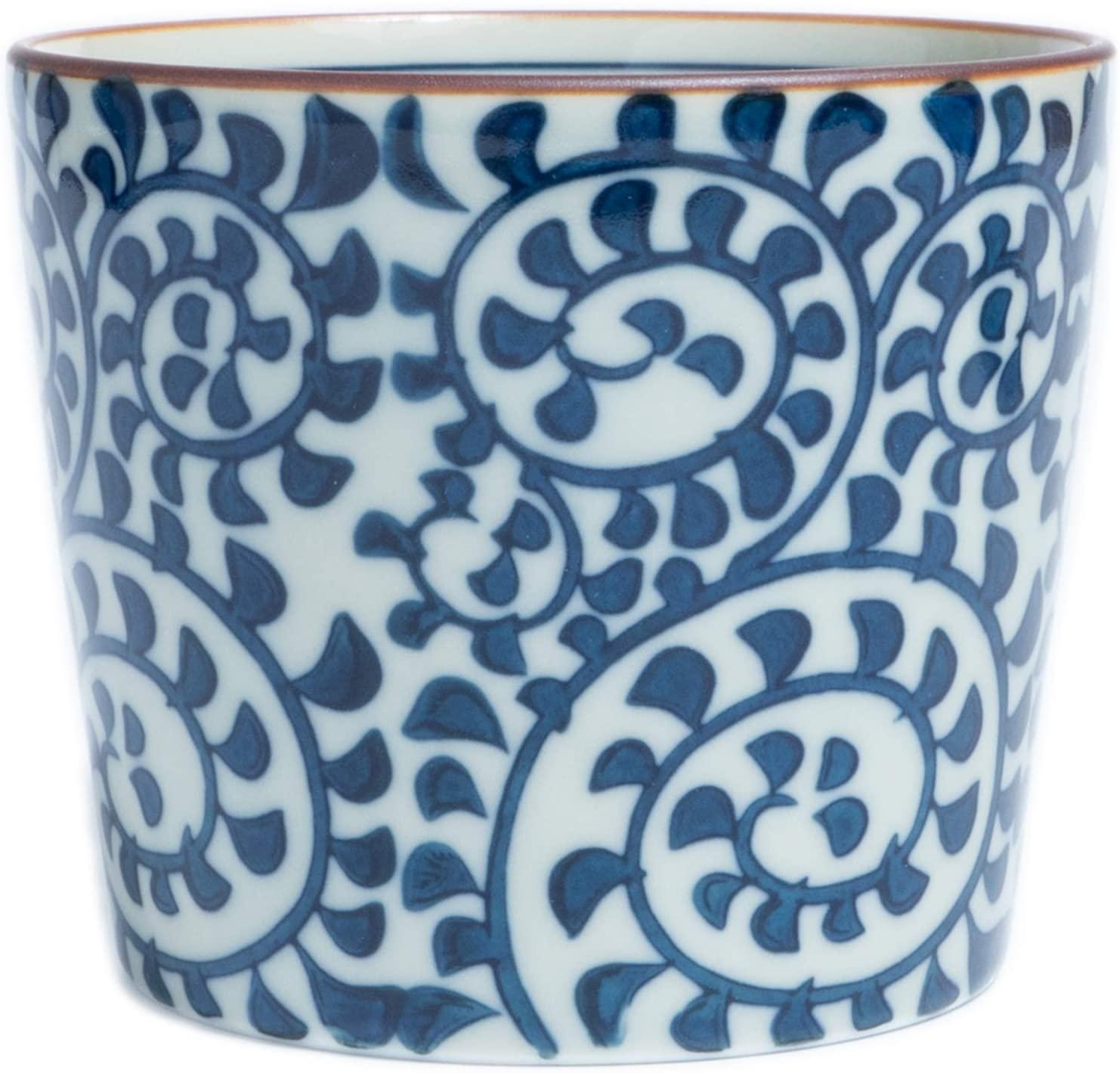 Sobachoko Tea Cup HASAMI YAKI Ceramic Pottery KARAKUSA Arabesque 7.0oz Dinnerware Sake Dessert Cup Made in Japan