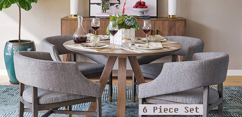 Alder & Tweed Jeff Lewis Designer 6 Piece Solid Wood Dining Room Set