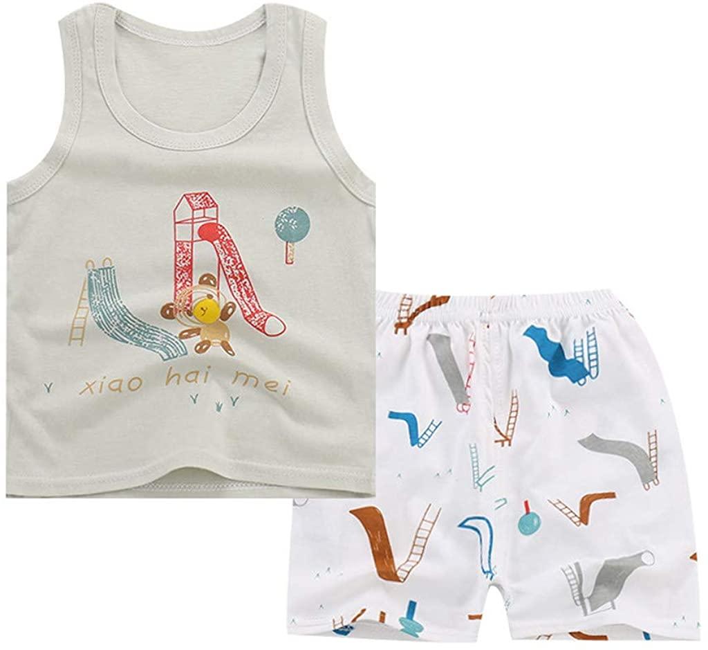 LNGRY Toddler Kids Baby Boys OutfitsSet,Cartoon Sleeveless T-Shirt Vest+Striped Pants Shorts Set