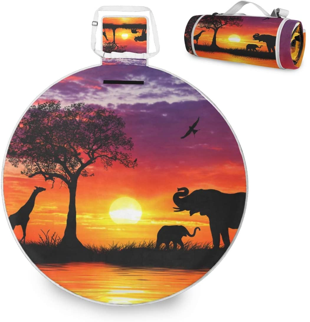 N/ A African Animals at Sunset Large Picnic Outdoor Blanket Waterproof Handy Picnic Mat for Family Camping Beach Park, Round 59 inch