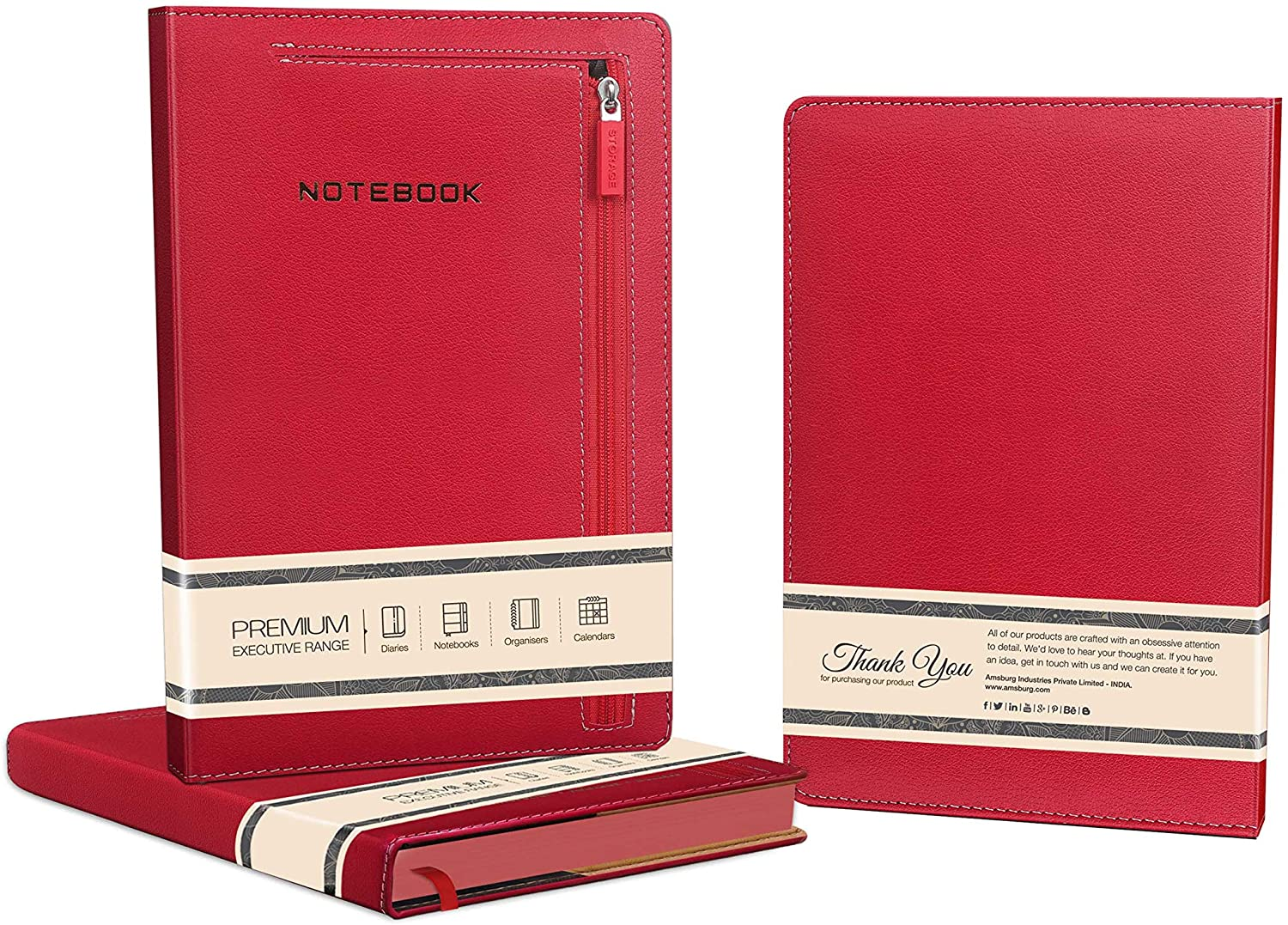 Premium Pocket Zipper Notebook with Red PU Leather