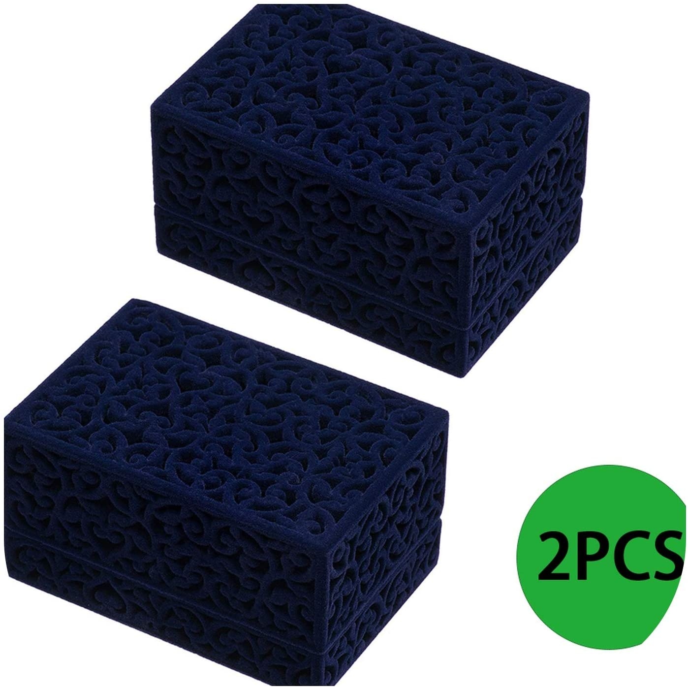 S-D-A 2Pcs Hollow Ring Box Jewelry Box Couple Double Ring Bearer Box Engagement Gift Flocking Plastic Boxs,Blue
