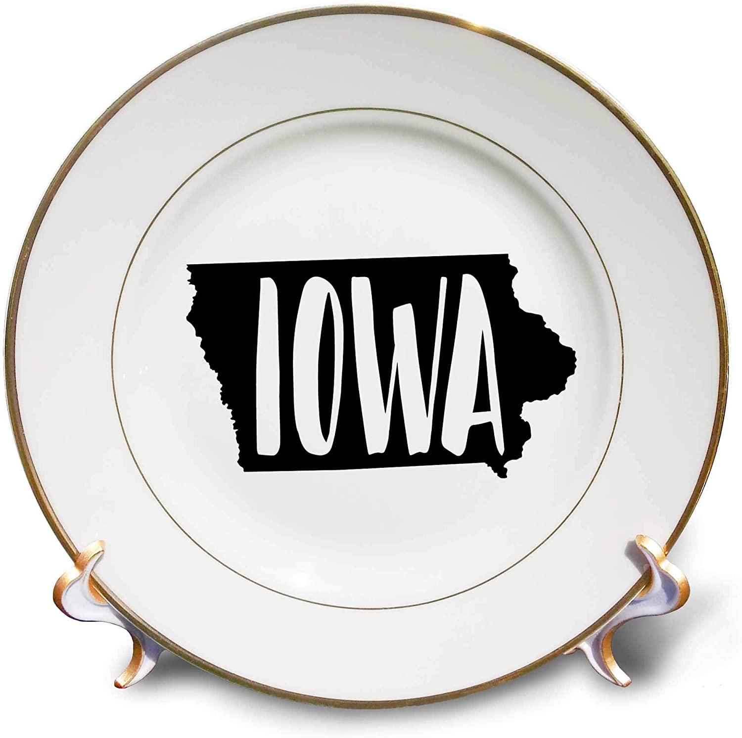 3dRose Stamp City - Typography - Iowa Written Inside The State. White Background. - 8 inch Porcelain Plate (cp_324001_1)