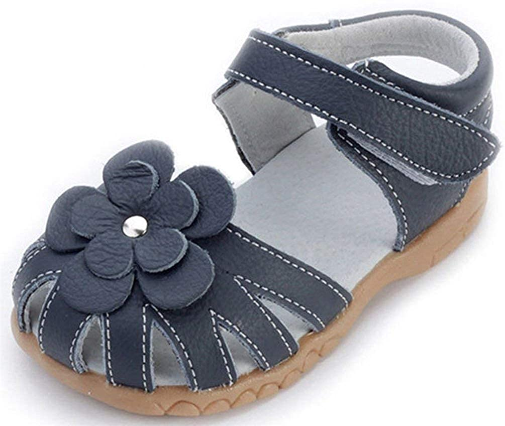 Girls Genuine Leather Outdoor Summer Flower Sandals Soft Closed Toe Princess Flat Shoes for Toddler/Little Kid