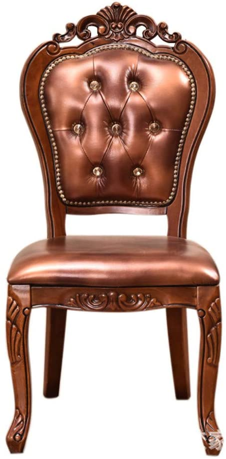 Solid Wood Chair Carved Dining Chair European Red Brown Hotel Club Chair