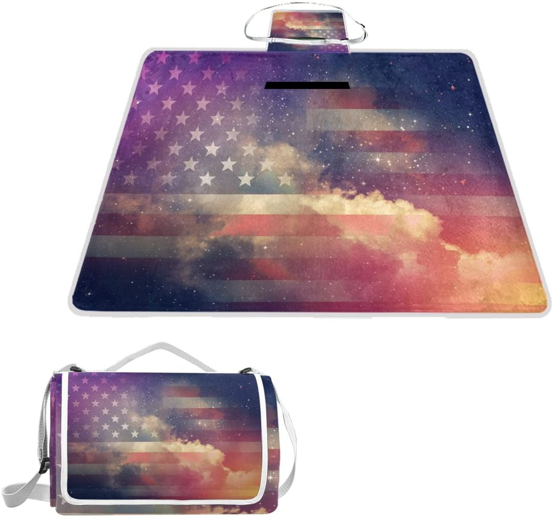 Naanle American Flag Vintage Stars July 4th Picnic Blanket Outdoor Picnic Blanket Tote Water-Resistant Backing Handy Camping Beach Hiking Mat