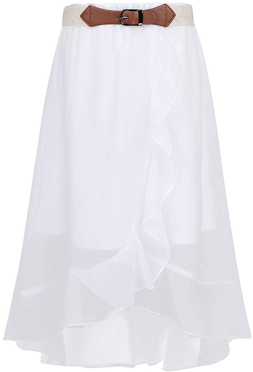 inlzdz Big Girls Chiffon Skirts Summer Casual Daily Wear Wedding Pageant Asymmetric Skirt